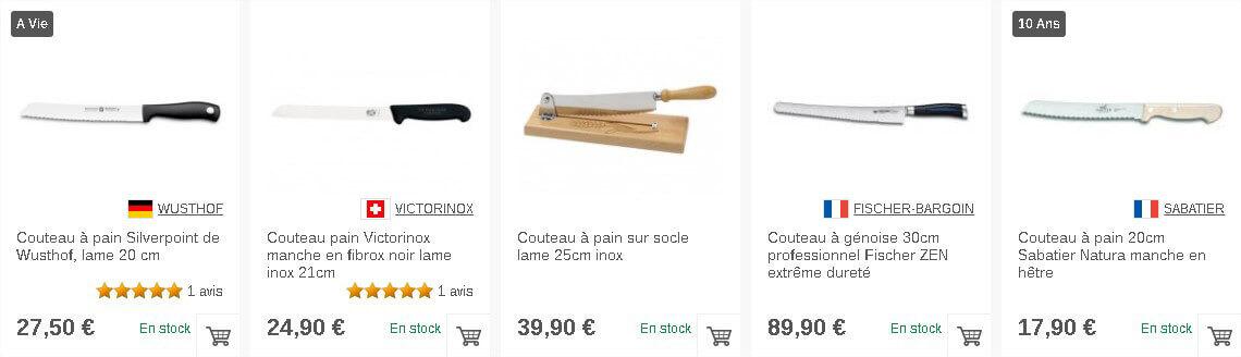 Sélection de couteaux à pain sur Couteauxduchef.com