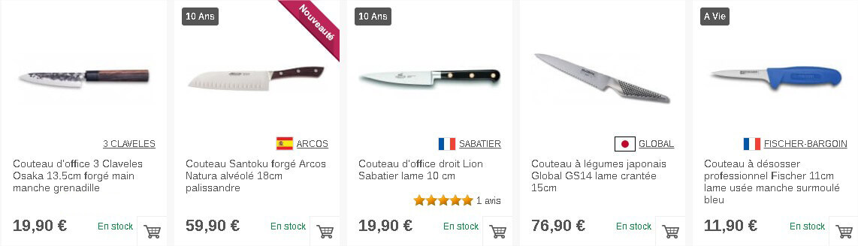 Sélection de couteaux de cuisine en acier sur Couteauxduchef.com