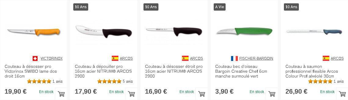 Couteaux professionnels sur Couteauxduchef