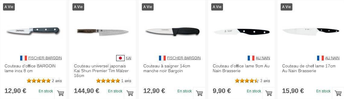 Couteaux de cuisine sur Couteauxduchef