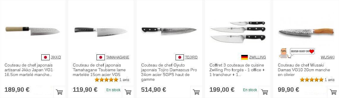 Couteaux de chef sur Couteauxduchef