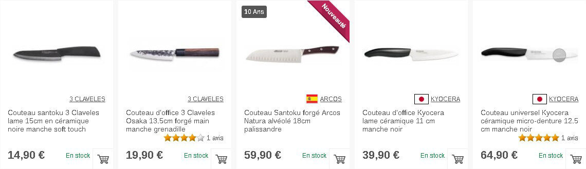 Différents couteaux de cuisine en fonction de leur utilisation sur Couteauxduchef.com