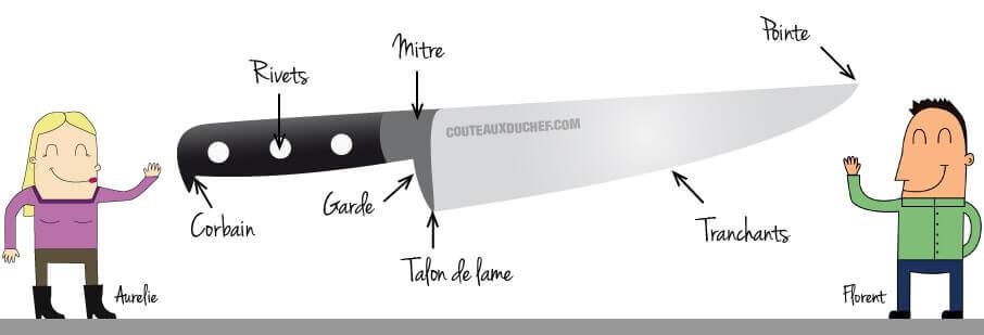 Voici un couteau décomposé avec les différentes parties qu'il contient. Découvrez à quoi correspond chacun d'elle et obtenez un oeil d'expert.
