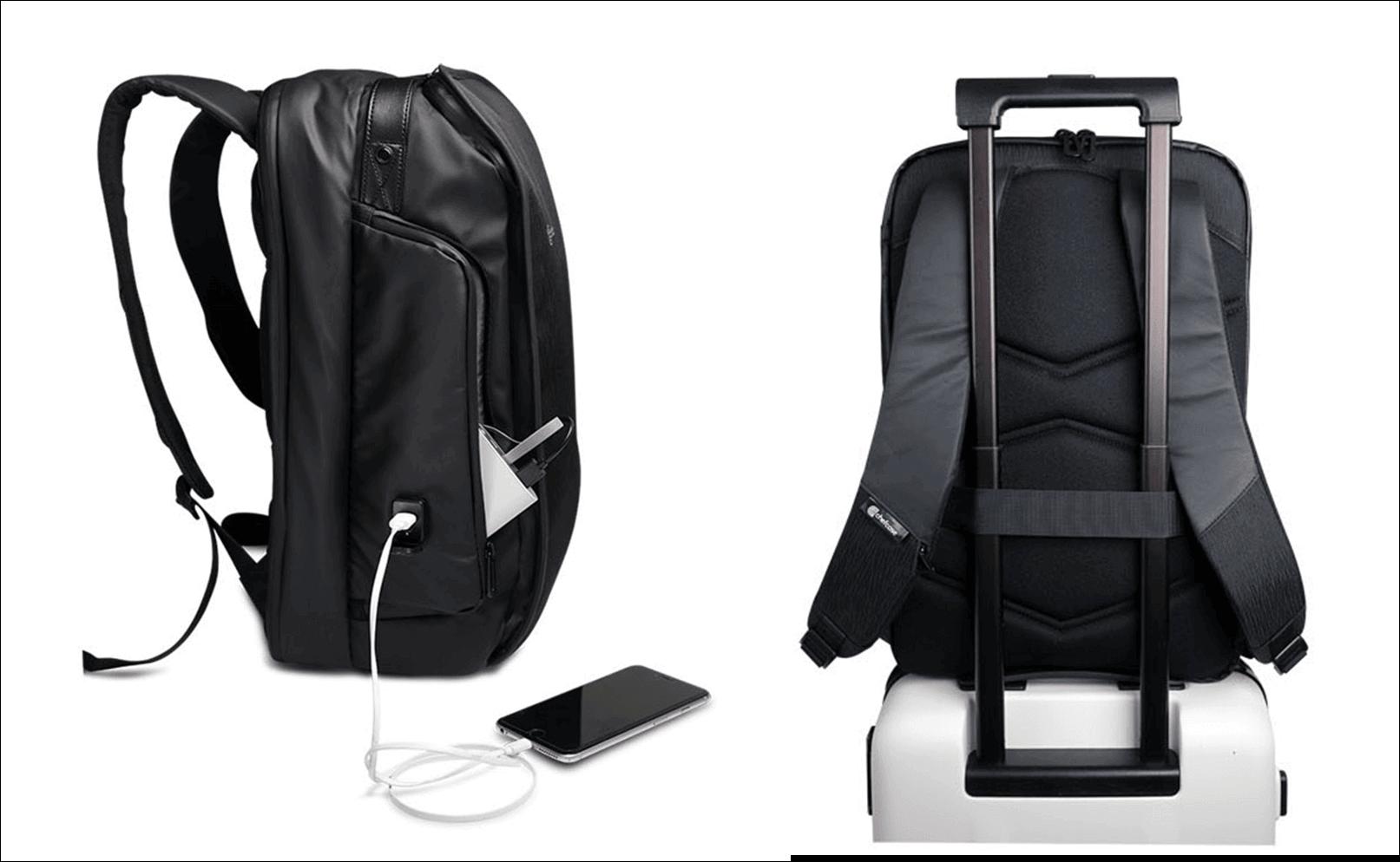 Sac à dos pour cuisinier pro CHEFCASE de côté avec port usb et support pour bagage