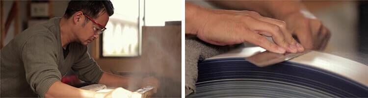 Le couteau Tsunehisa en train d'être fabriqué